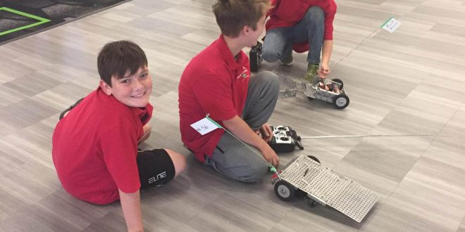 Students with robots.