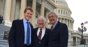 Political Science instructor Steve Wenzel is pictured with Congressman Joseph Kennedy, D-Massachusetts, left, and Congressman Rick Nolan, D-Minnesota, right, at the U.S. Capitol last week in Washington, D. C.