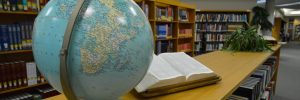 library with world globe